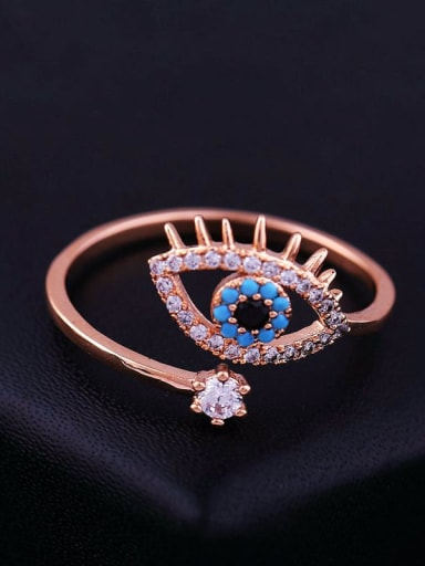 Brass Cubic Zirconia Evil Eye Ethnic Band Ring