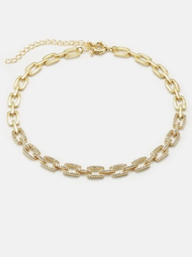 gold Brass Cubic Zirconia Geometric Minimalist Necklace