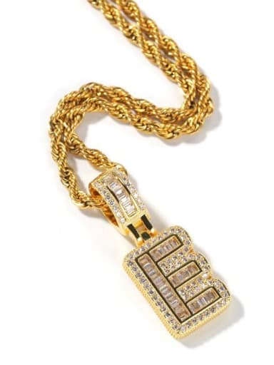 Brass Cubic Zirconia Letter Initials Cuban Chain Necklace