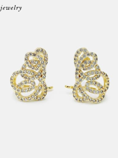 Gold white zirconium Brass Cubic Zirconia Geometric Luxury Stud Earring