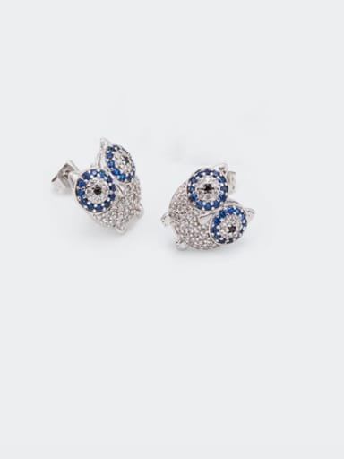 Earrings Platinum White Blue Brass Cubic Zirconia  Cute Eagle Earring and Necklace Set