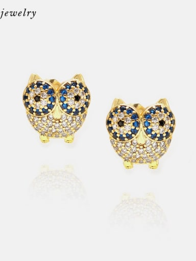 Earrings Gold White Blue Brass Cubic Zirconia  Cute Eagle Earring and Necklace Set