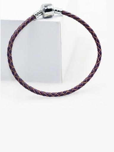 violet Leather Woven 16-22cm Bracelet