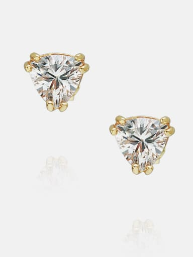 6*6mm gold white zirconium Brass Cubic Zirconia Triangle Minimalist Stud Earring