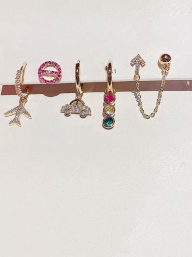 Brass Rhinestone Geometric Bohemia Huggie Earring