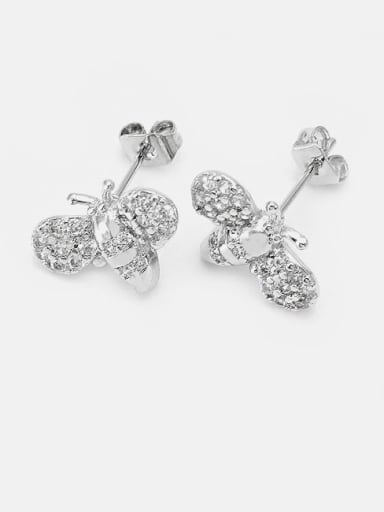 Brass Cubic Zirconia Irregular Cute Bee Stud Earring