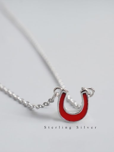 Red 925 Sterling Silver Initials U letter red or black Necklace