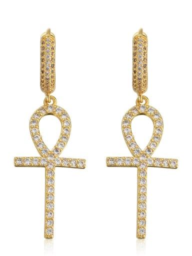 golden Brass Trend Cluster Earring