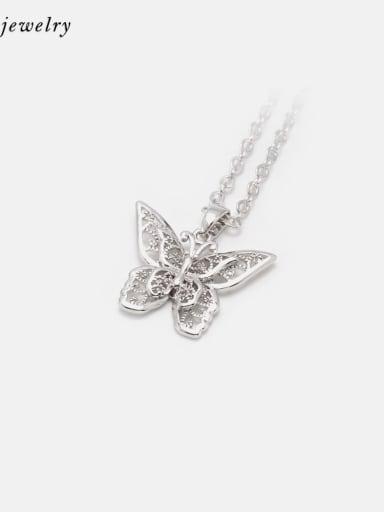 Platinum Brass Cubic Zirconia Butterfly Minimalist Necklace