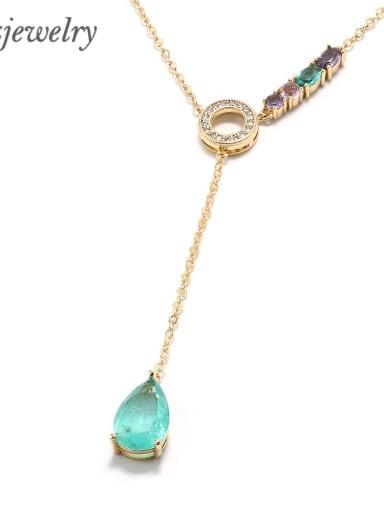 gold Brass Zircon Water Drop Minimalist Lariat Necklace