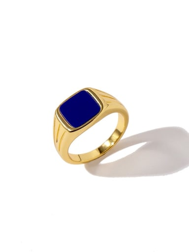 Golden Blue Brass Shell Geometric Minimalist Band Ring