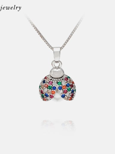 Necklace platinum color zirconium Brass Cubic Zirconia Cute Insect Earring and Necklace Set