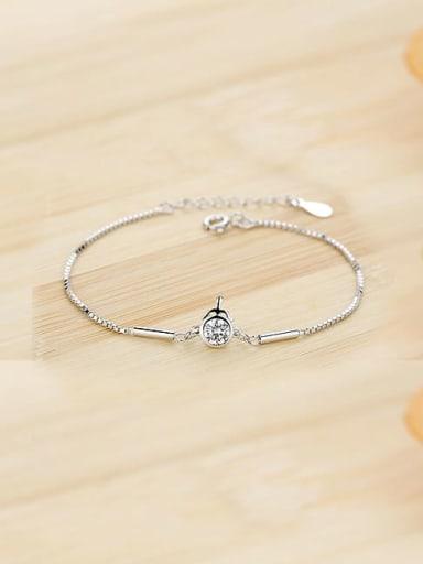 925 Sterling Silver Cubic Zirconia White Heart Dainty Bracelet