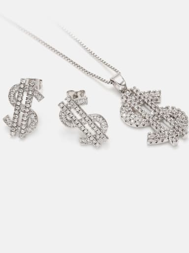 Brass Cubic Zirconia Ethnic Irregular  Earring and Necklace Set