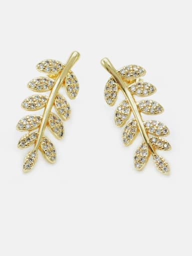 Gold white zirconium Brass Cubic Zirconia Leaf Dainty Drop Earring