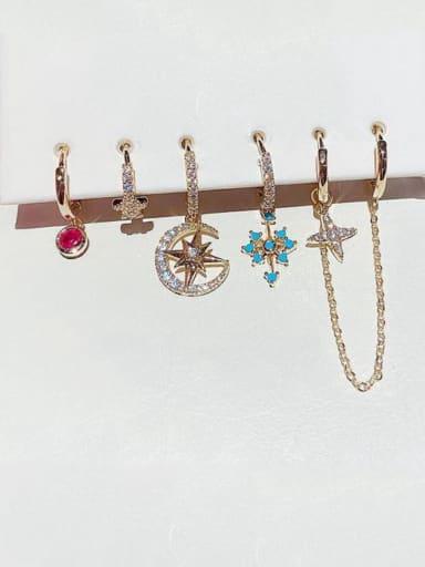 Brass Rhinestone Cross Bohemia Huggie Earring