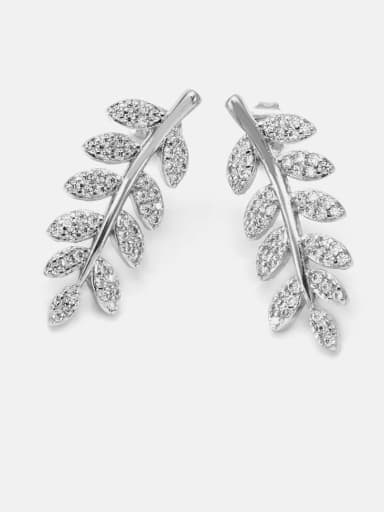 Platinum white zirconium Brass Cubic Zirconia Leaf Dainty Drop Earring