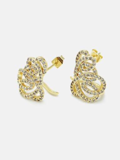 Brass Cubic Zirconia Geometric Luxury Stud Earring