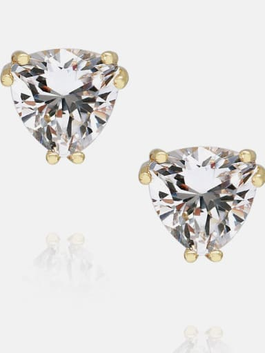 8*8mm gold platinum Brass Cubic Zirconia Triangle Minimalist Stud Earring