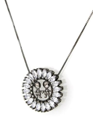 Black Brass Cubic Zirconia White Initials 3.6cm*3.6cm Necklace