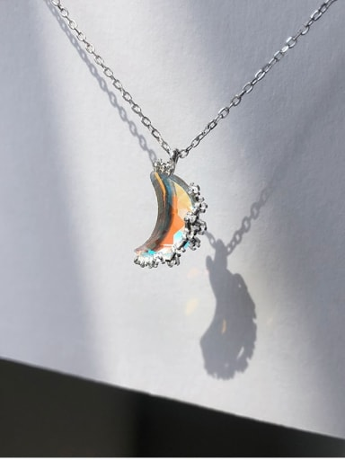 925 Sterling Silver Rainbow Stone Multi Color Moon Necklace