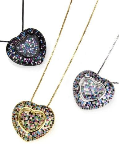 Brass Cubic Zirconia Heart Dainty Locket 2.4cm 2.6cm Necklace