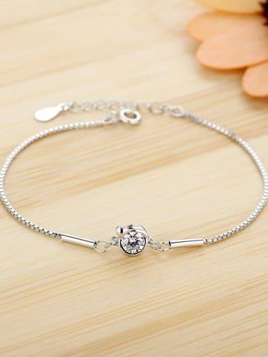 Virgo 925 Sterling Silver Cubic Zirconia White Heart Dainty Bracelet