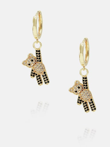 Gold black and white zirconium Brass Cubic Zirconia Bear Cute Huggie Earring
