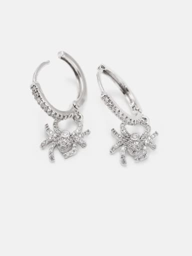 Platinum white zirconium Brass Cubic Zirconia Crab Cute Huggie Earring