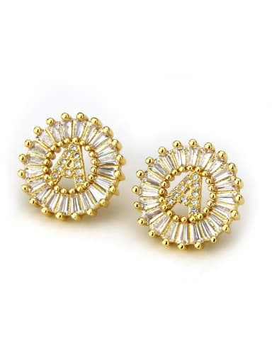 Brass Cubic Zirconia White Letter Dainty Stud Earring