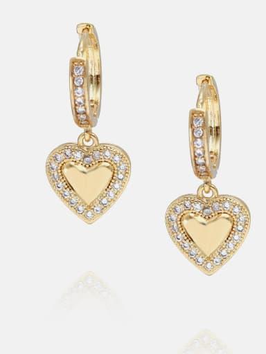 Gold white Zircon Earrings Brass Cubic Zirconia Minimalist Heart  Earring and Necklace Set