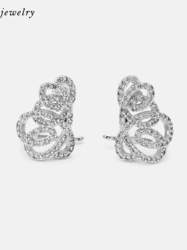 Platinum white zirconium Brass Cubic Zirconia Geometric Luxury Stud Earring