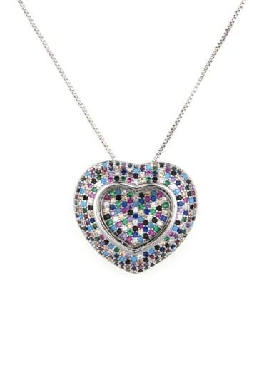 Platinum Brass Cubic Zirconia Heart Dainty Locket 2.4cm 2.6cm Necklace