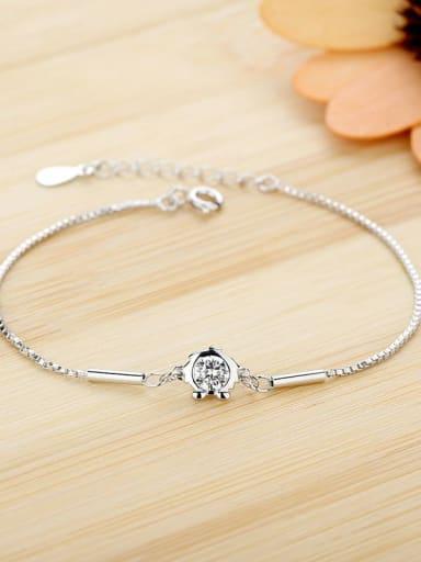 leo 925 Sterling Silver Cubic Zirconia White Heart Dainty Bracelet