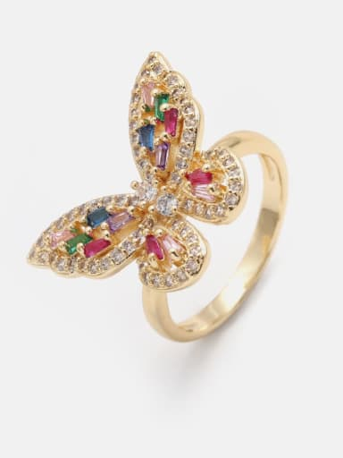 Gold Brass Cubic Zirconia Butterfly Cute Band Ring