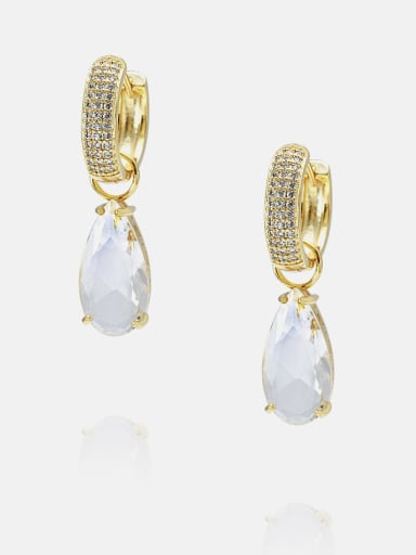 Golden white Brass Cubic Zirconia Water Drop Ethnic Huggie Earring