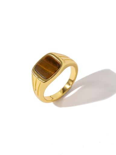 Golden brown Brass Shell Geometric Minimalist Band Ring
