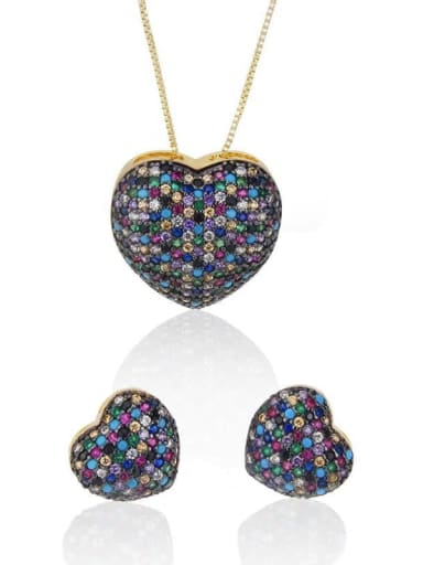 Heart Brass Cubic Zirconia Earring and Necklace Set
