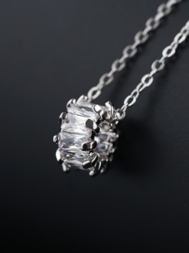platinum Plated Brass Cubic Zirconia White Necklace