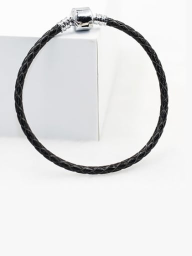 black Leather Woven 16-22cm Bracelet