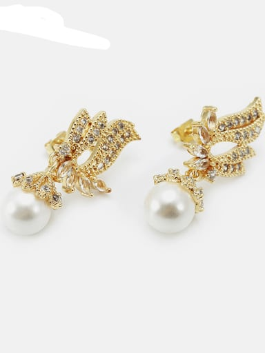 Gold zircon Pearl Brass Cubic Zirconia Wing Ethnic Drop Earring