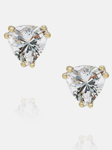 7*7mm gold white zirconium Brass Cubic Zirconia Triangle Minimalist Stud Earring