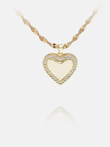 Necklace gold white zircon Brass Cubic Zirconia Minimalist Heart  Earring and Necklace Set