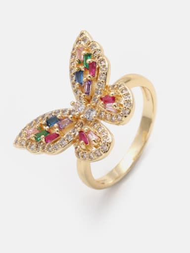 Brass Cubic Zirconia Butterfly Cute Band Ring