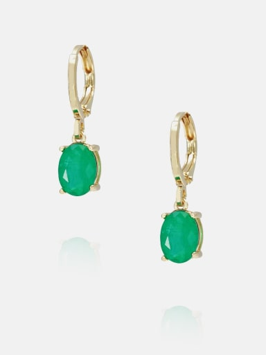 Golden green Brass Opal Geometric Minimalist Huggie Earring