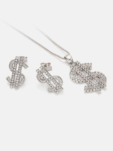 Platinum white zirconium Brass Cubic Zirconia Ethnic Irregular  Earring and Necklace Set