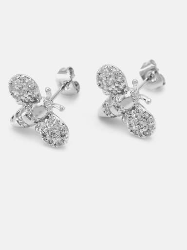 Platinum white zirconium Brass Cubic Zirconia Irregular Cute Bee Stud Earring