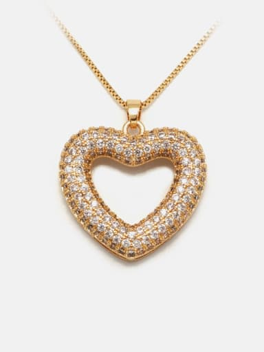 Necklace gold white zirconium Brass Cubic Zirconia Minimalist Heart  Earring and Necklace Set