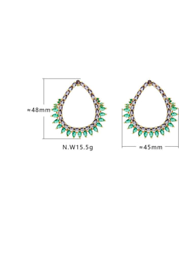Gold light purple green Brass Cubic Zirconia Hollow Water Drop Bohemia Drop Earring