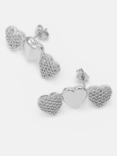 Platinum white zirconium Brass Cubic Zirconia Heart Dainty Drop Earring
